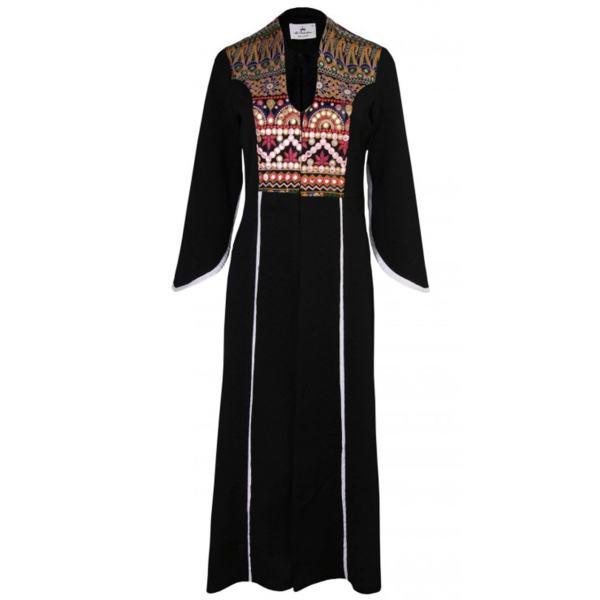 مانتو زنانه طرح سنتی مشکی بلند
